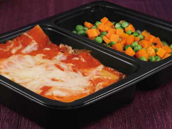 Renal meal, Beef Lasagna with Peas & Carrots