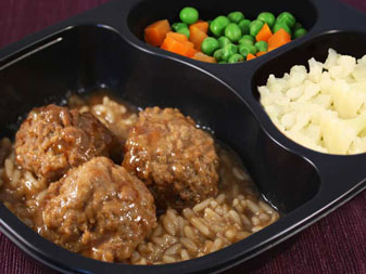 Renal meal, Meatballs with Rice & Gravy